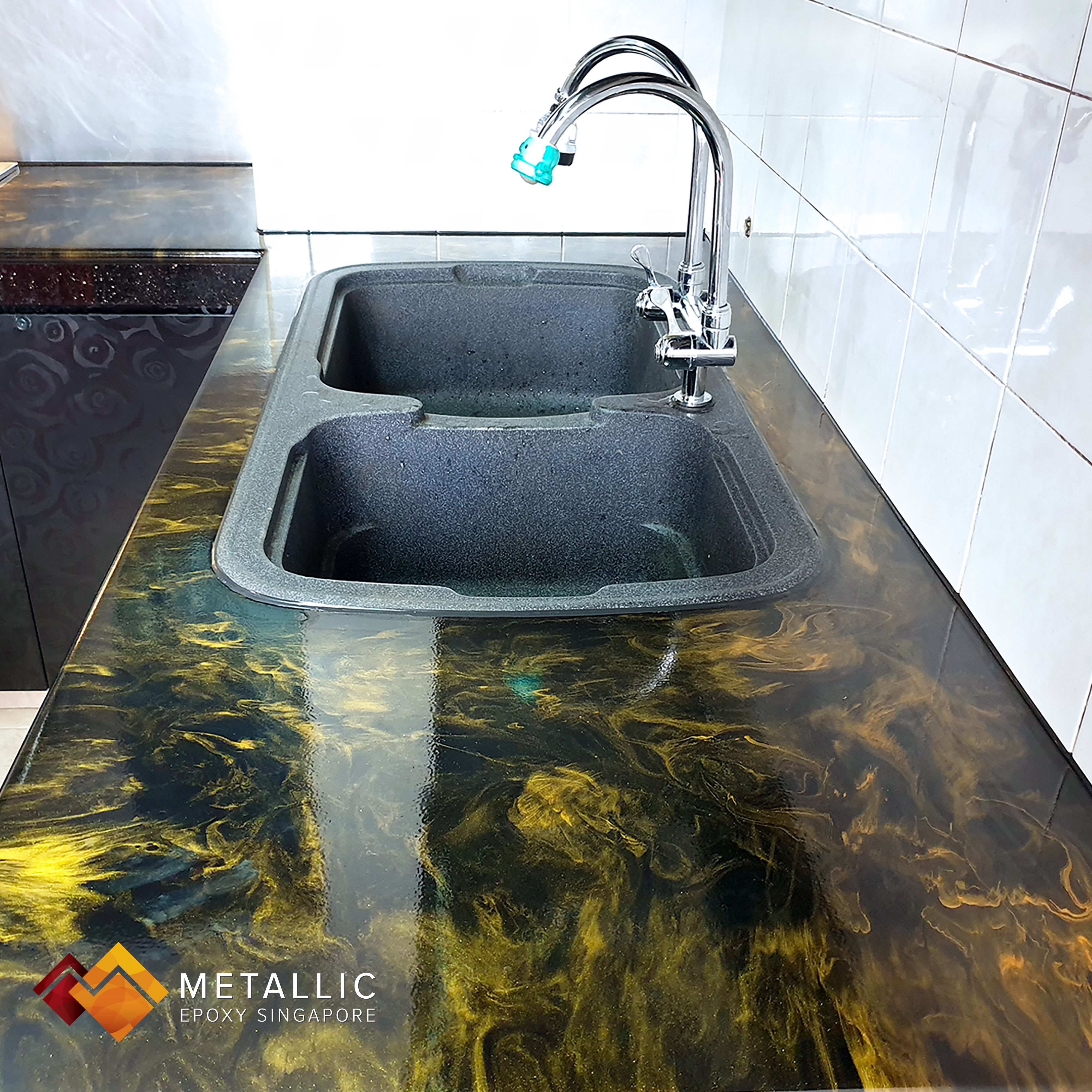 What was once an unsightly epoxy countertop done by an