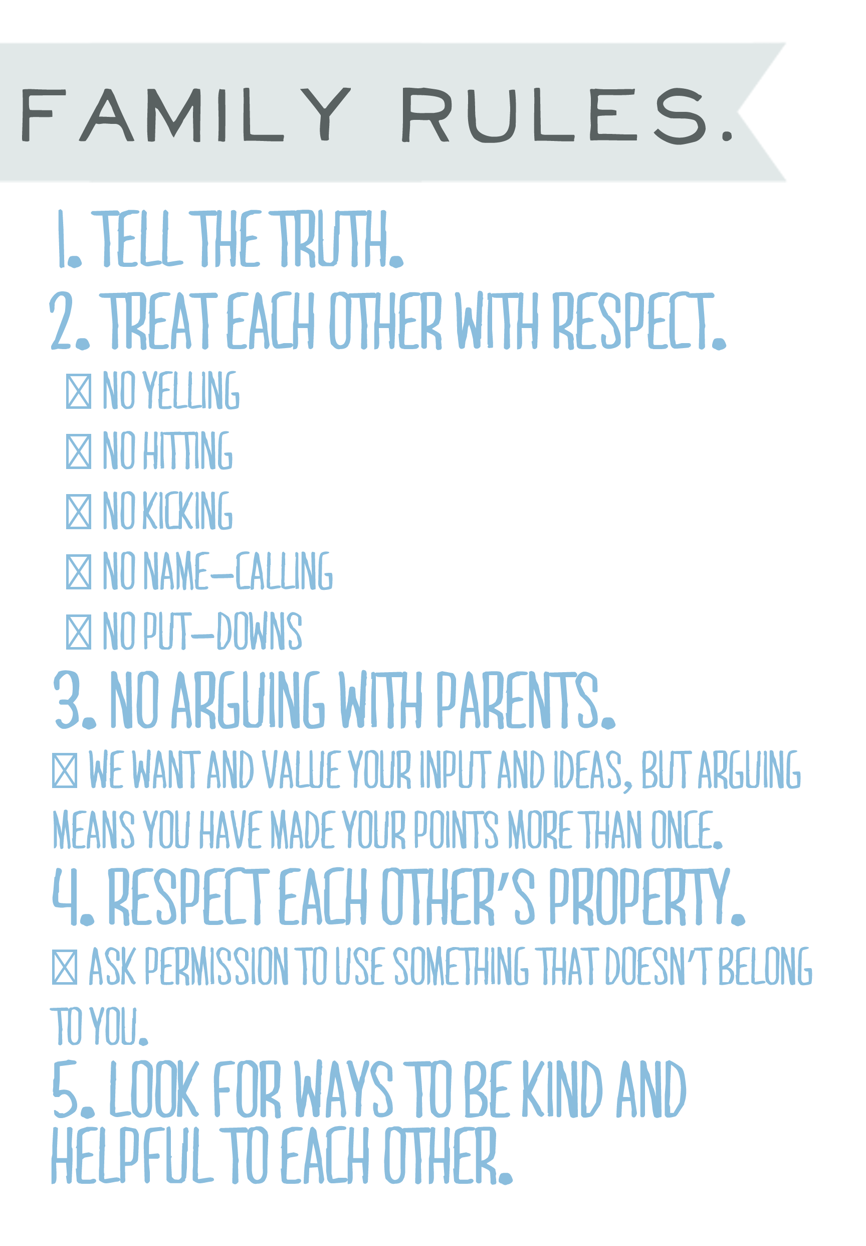 List Of Rules For Kids