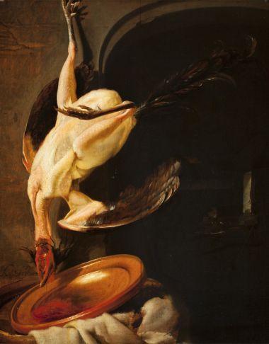 Karel Slabbaert: geplukte haan met huishoudelijk gerei en keukeninterieur. ca. 1634-1654. Museum Bredius, Den Haag. De schotel dient om het bloed van het dier op te vangen dat er uit druipt. Rechts op de achtergrond ziet men de vrouw die de maaltijd bereidt.