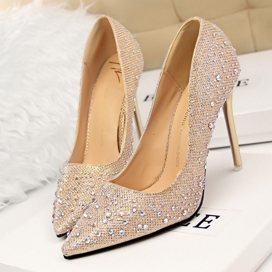 0f18c7d73bb Silver Rhinestone Wedding Shoes Platform Pumps Red Bottom High Heels  Crystal Shoes