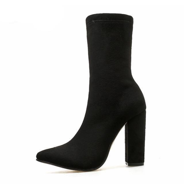 Boot Black Pointed Heel High en Square Ankle Toe New Flock n08kXwOP