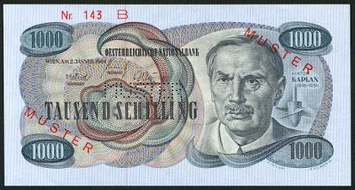 Austria money currency 1000 Austrian Schilling banknote of 1961, issued by the National Bank of Austria - Oesterreichische Nationalbank.  Austrian money currency, Austrian banknotes, Austrian paper money , Austrian bank notes, Austria banknotes, Austria paper money, Austria bank notes, Oesterreichische Schilling banknoten, Österreich papiergeld.  Obverse: Portrait of Viktor Kaplan (November 27, 1876 – August 23, 1934) , Austrian engineer and the inventor of the Kaplan turbine.