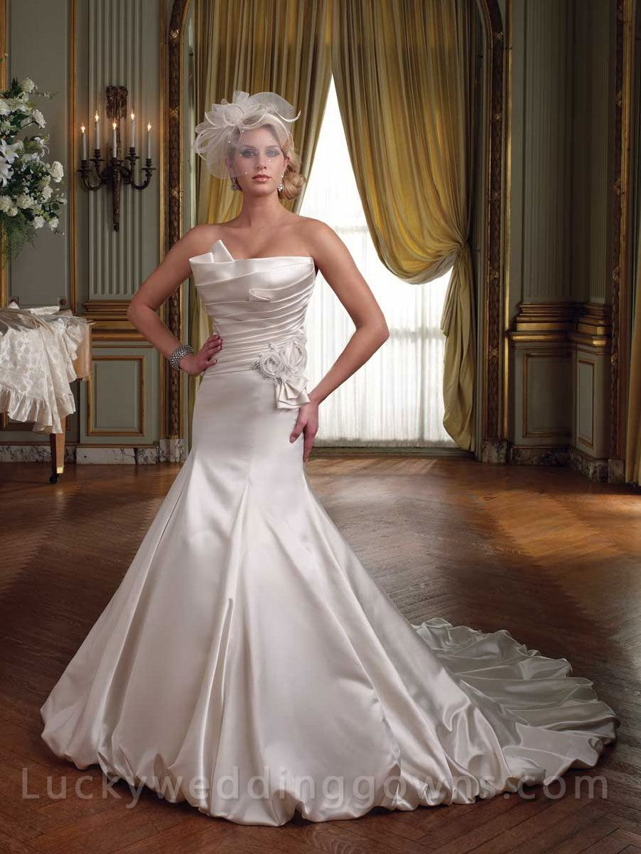 Strapless Luxurious Satin Mermaid Cathedral Train Bridal
