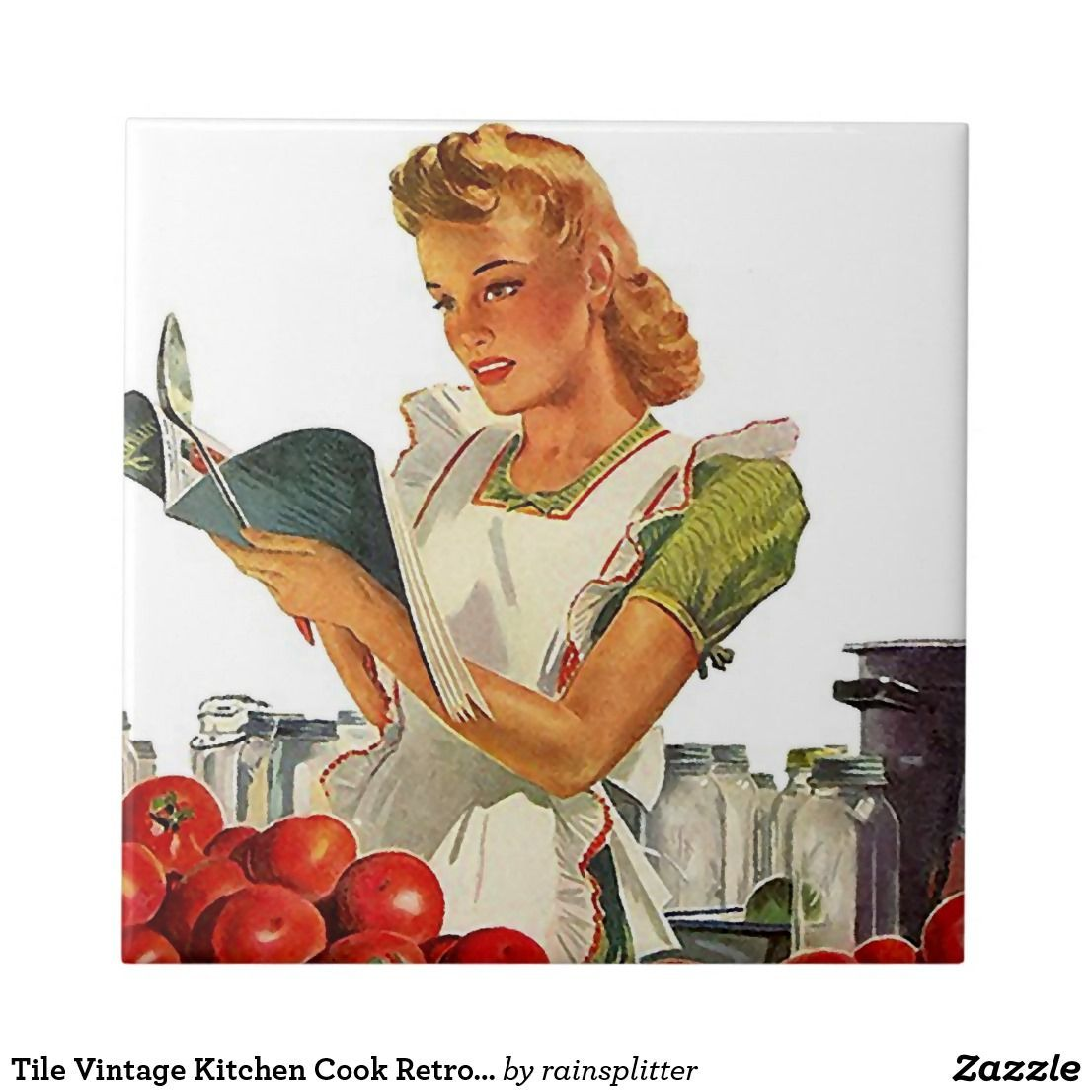 Tile Vintage Kitchen Cook Retro Stylish Lady Chef