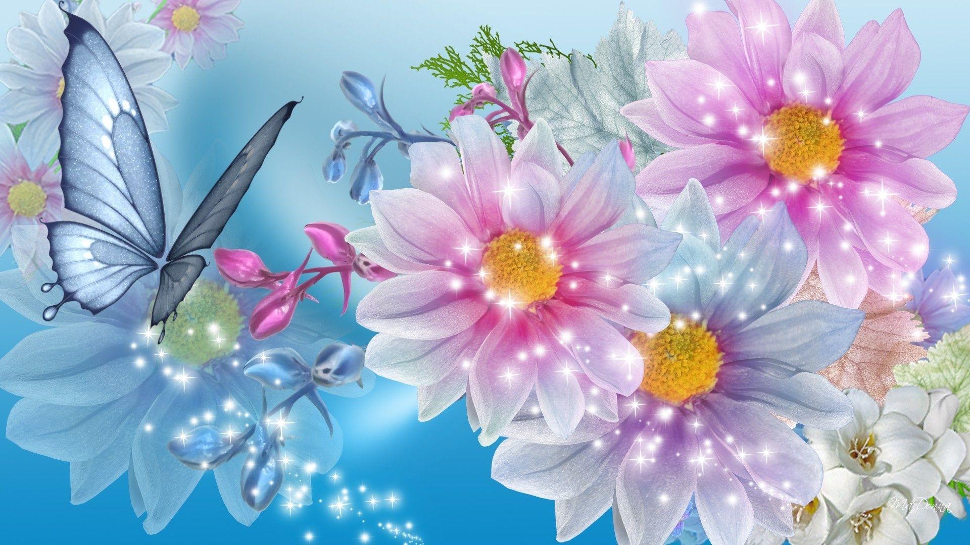 Beautiful Flower Wallpaper For Girls Desktop Wallpaper | flowers & butterflies in 2019 ...