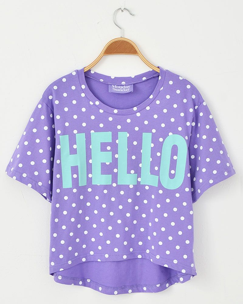Hello printed letter T-shirt purple