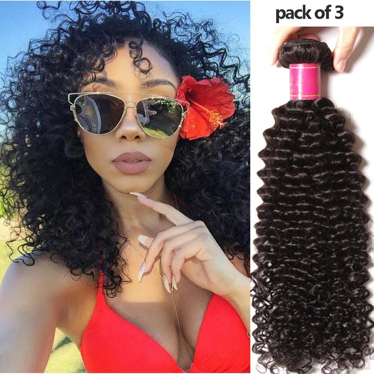 Yiroo Brazilian Virgin Curly Hair Weave Remy Human Hair Extensions