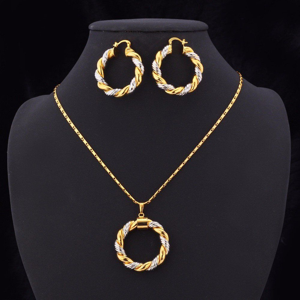 Unique classic twotone k gold plated necklace u earrings set for