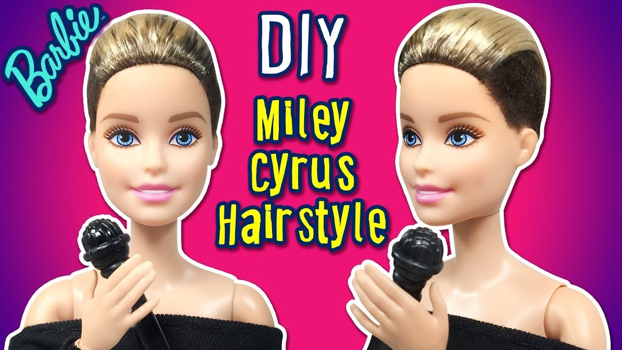 Barbie Hairstyles New Miley Cyrus Hair Tutorial For Barbie Doll  Barbie Haircut  Diy