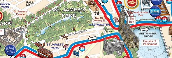 Double Decker Red Bus Info Sunday In London Services At - Map of london england tourist attractions