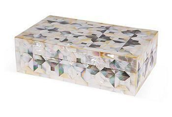 Mother-of-pearl tiles create a stunning, graphic mosaic of pattern and texture on this box.