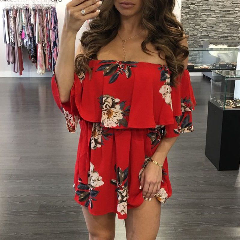 f6775c087f8 2.2AUD - Womens Summer Off-Shoulder Boho Evening Party Beach Chiffon Short  Mini Dress Red  ebay  Fashion