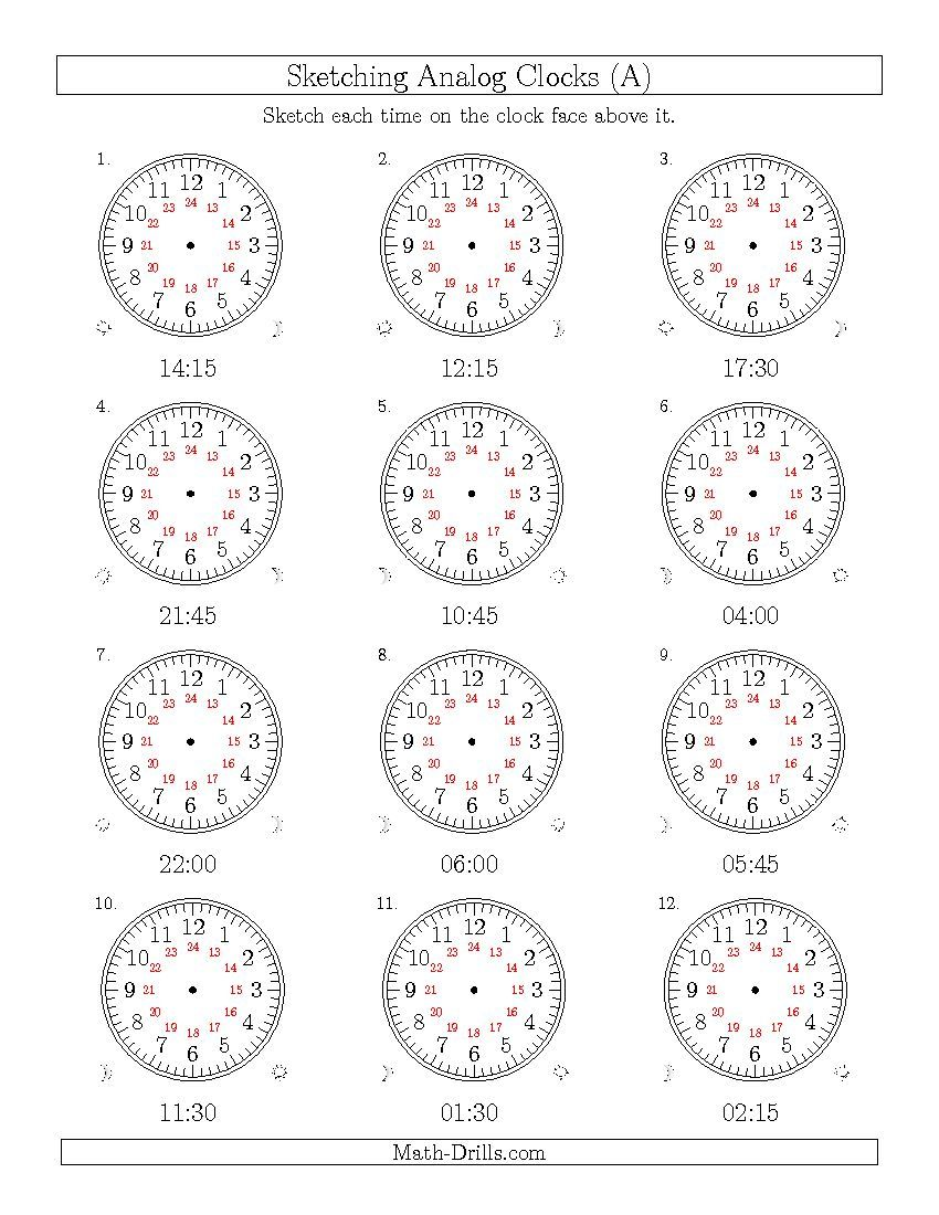new 2015 04 03 sketching time on 24 hour analog clocks in 15 minute intervals a math. Black Bedroom Furniture Sets. Home Design Ideas