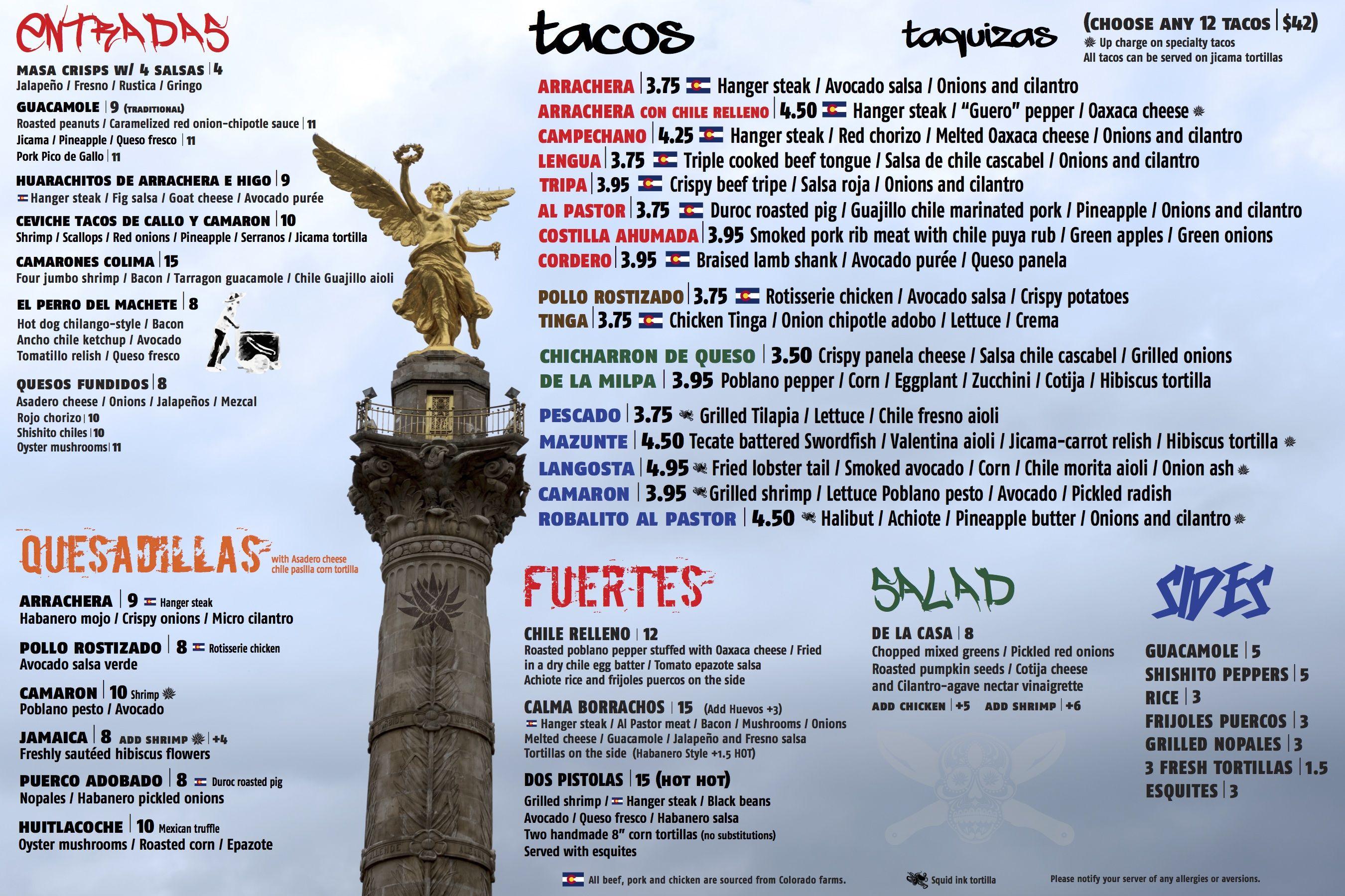 Menu | Machete Tequila + Tacos