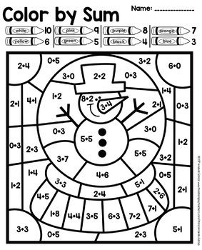 Color By Number Addition Subtraction Practice Addition And Subtraction Practice Christmas Math Worksheets Subtraction Practice