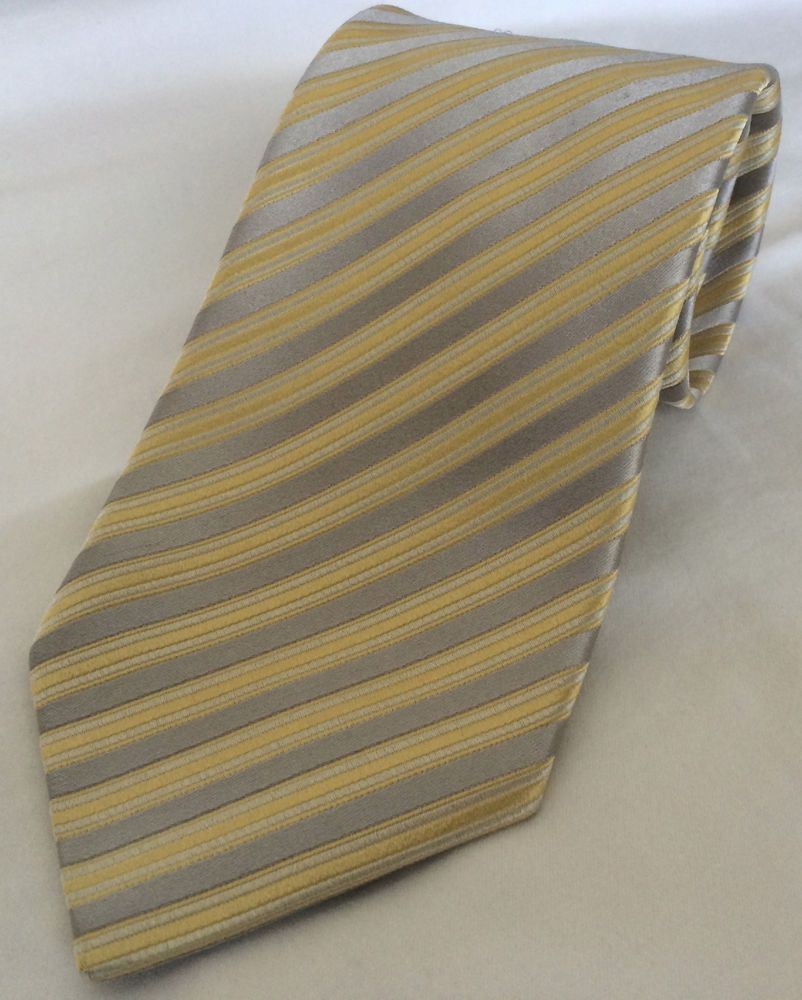 e432168dd582 CHARVET PLACE VENDOME MEN'S 100% SILK NECK TIE SILVER W/YELLOW STRIPES  FRANCE #Charvet #NeckTie