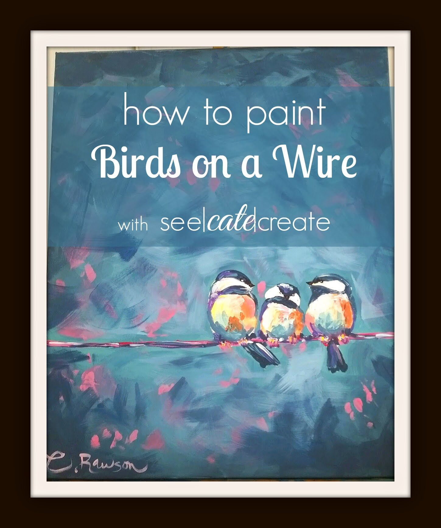 Paint with Cate! A Birds on a Wire painting tutorial using acrylic ...