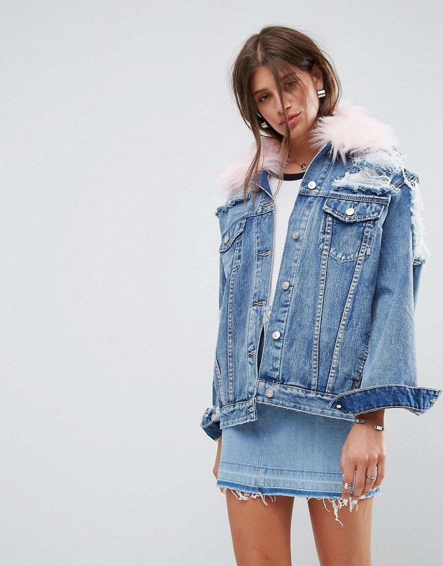 0d870178107b1 Denim Jacket With Rips And Detachable Faux Fur Collar | Street style ...