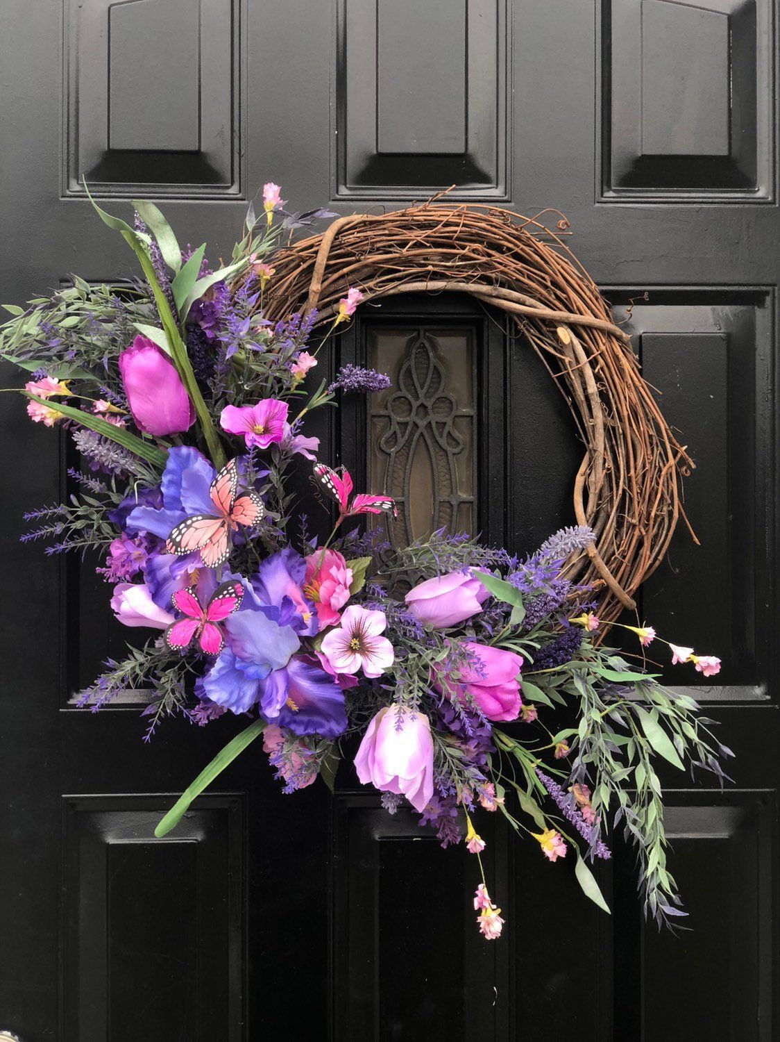 Photo of Butterfly spring wreath for front door, peasant wreath, Easter wreath, spring wreath, summer wreath, rustic wreath, mother's day wreath