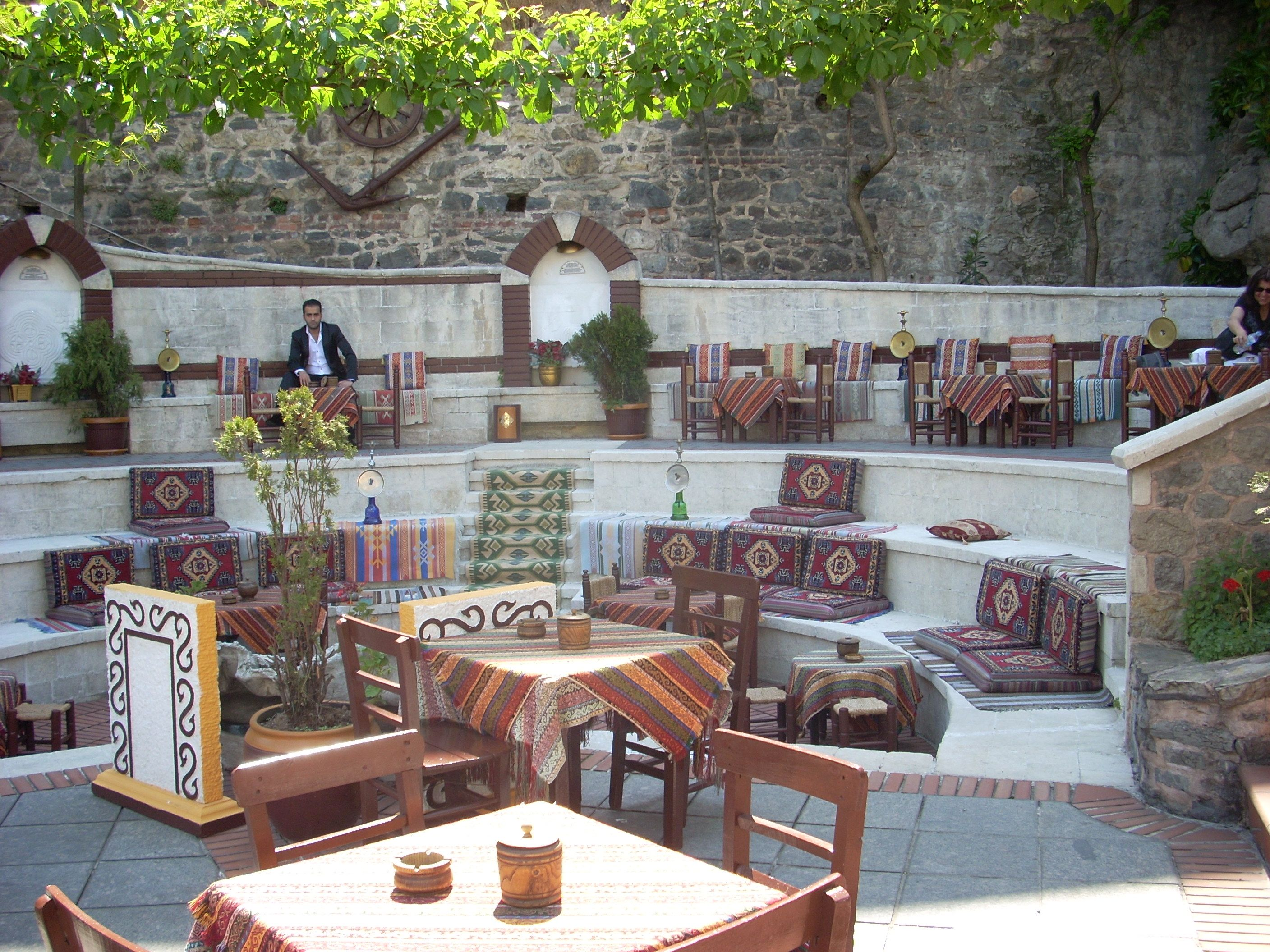 Istanbul turkey coffee shop with outdoor amphitheater