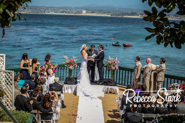 Hot Pink And Navy Wedding At The Monterey Plaza Hotel Monterey Plaza Navy Wedding Plaza Hotel