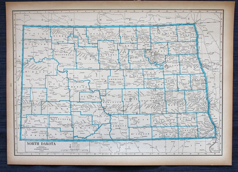 1941 North Dakota Map Or Ohio Map Large Map New International
