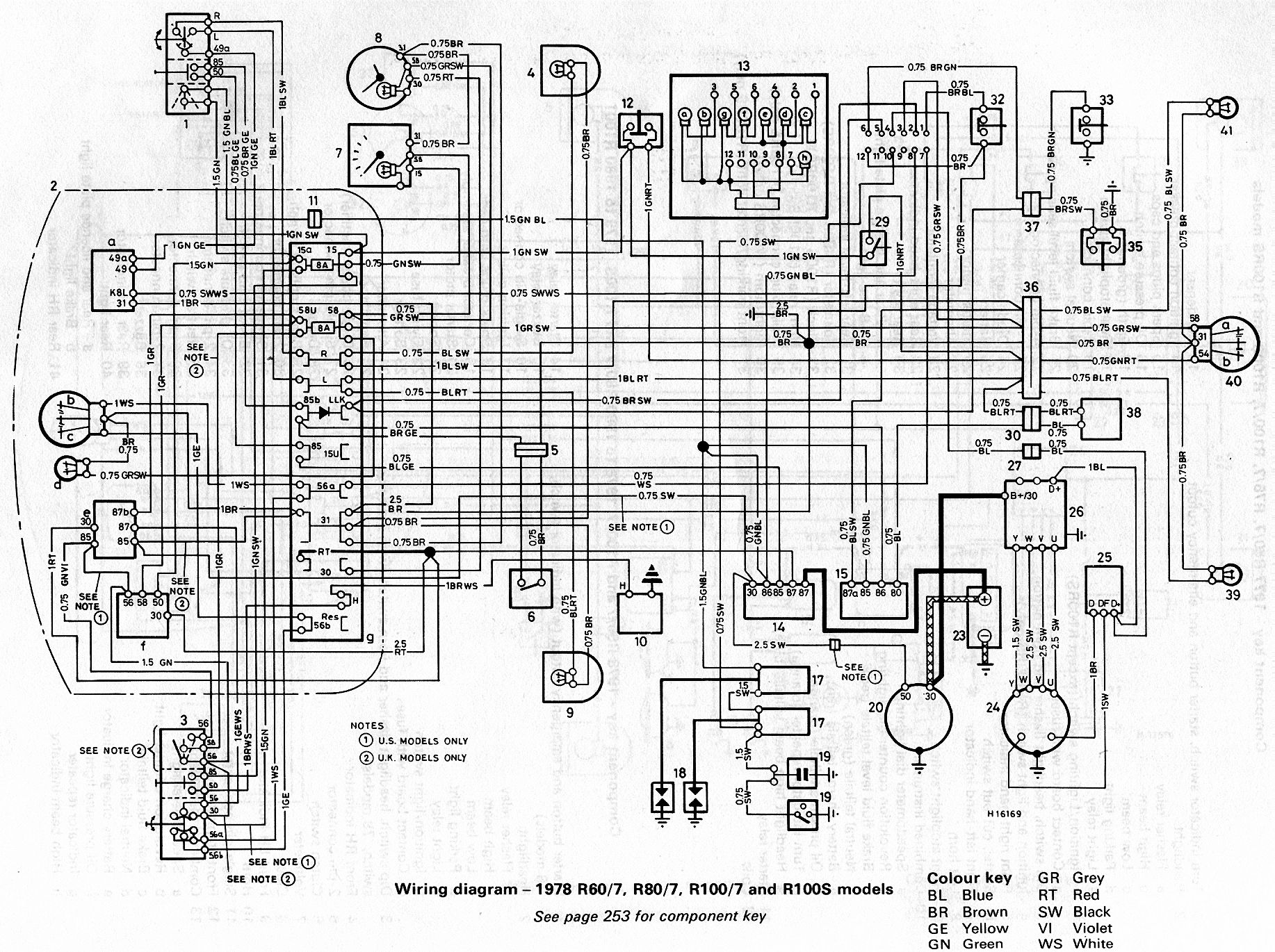 bmw 1984 r80/7 wiring diagram | Chassis Wire Harness BMW R Airhead R60 R75