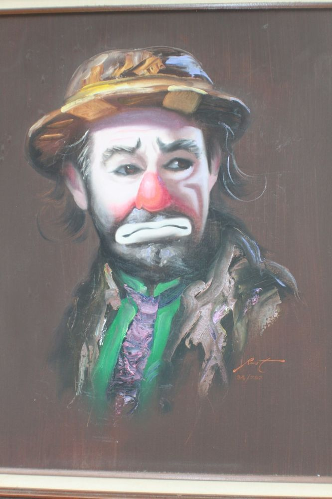 Don Rusty Rust Emmett Kelly sad clown canvas oil painting 34