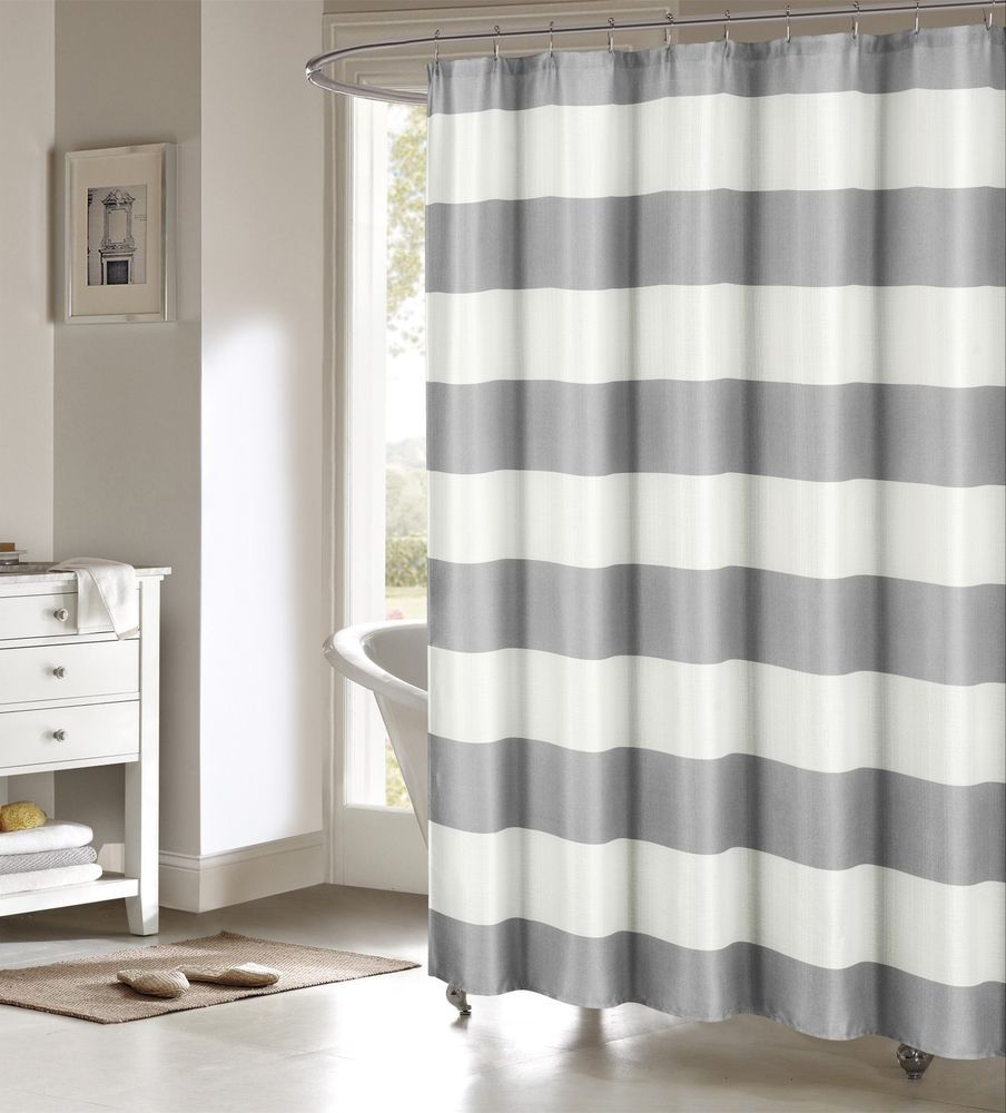 Toto Gray Large White Stripes Striped Fabric Shower