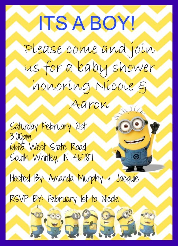 Homemade Despicable Me Minions Baby Boy Shower Invite Tell Me What