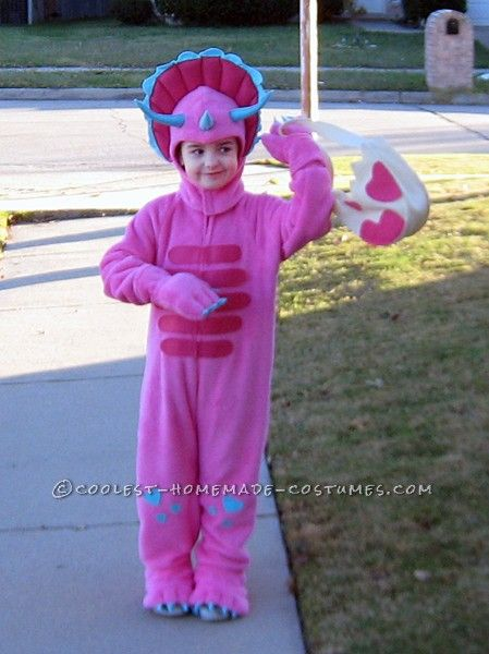 cd127a22ed9 Homemade Pink Triceratops Halloween Costume for a Girl | Coolest ...