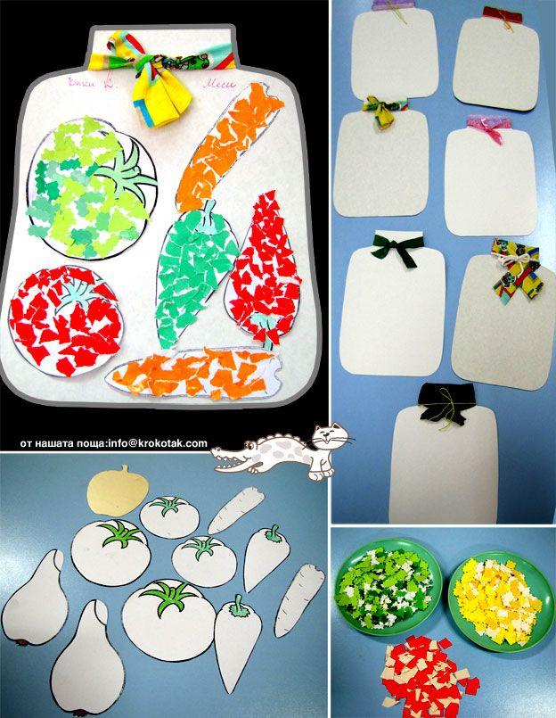 veggie torn paper craft child