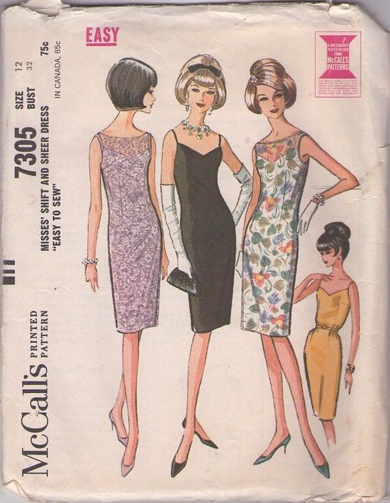 f1aac24f908d McCall's 7305 Vintage 60's Sewing Pattern RED HOT SIZZLING PinUp Slip Dress,  Bombshell Cocktail Party Sheath or Shift