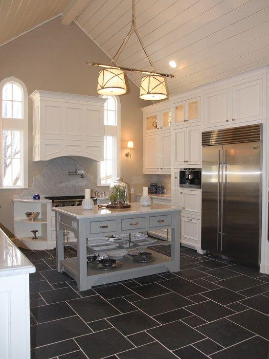 Dark Kitchen Tile Floor ---- With Darker Grout