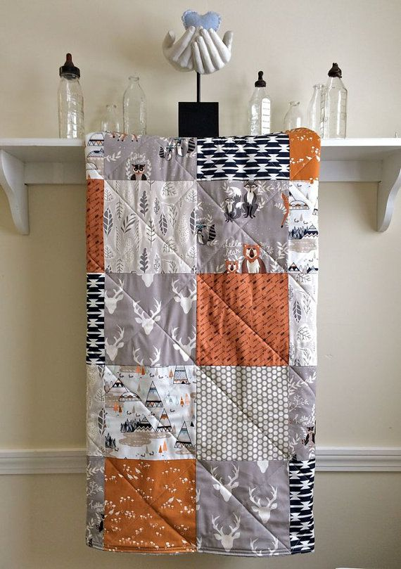 Baby Quilt Boy Woodland Modern Rustic Fox Deer Antler Gray Rust Orange Navy Nursery Bedding Crib
