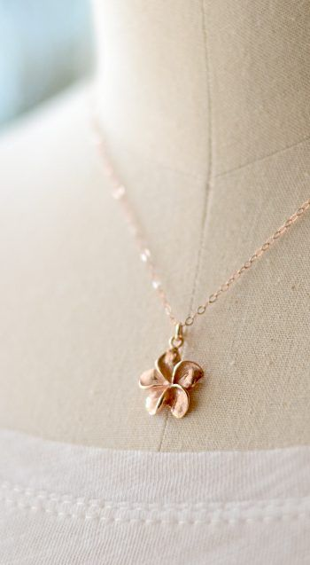 Pua Melia Pink Plumeria necklace rose gold rose gold necklace