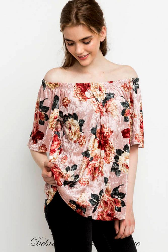e6da632f8ee5b Mittoshop Short Sleeve on or off shoulder top. Crushed Velvet with floral  print. Stunning and gorgeous. Comfy off shoulder elastic. Color  Blush Rose  Sizes  ...