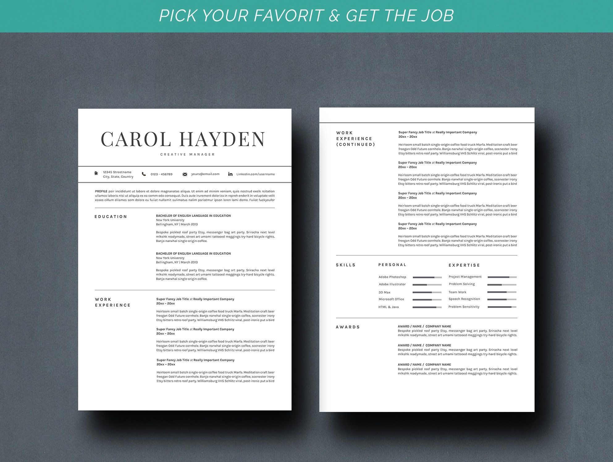 Resume Template 2 Pages Cv Resume Template Professional Business Cards Templates Resume Design Template