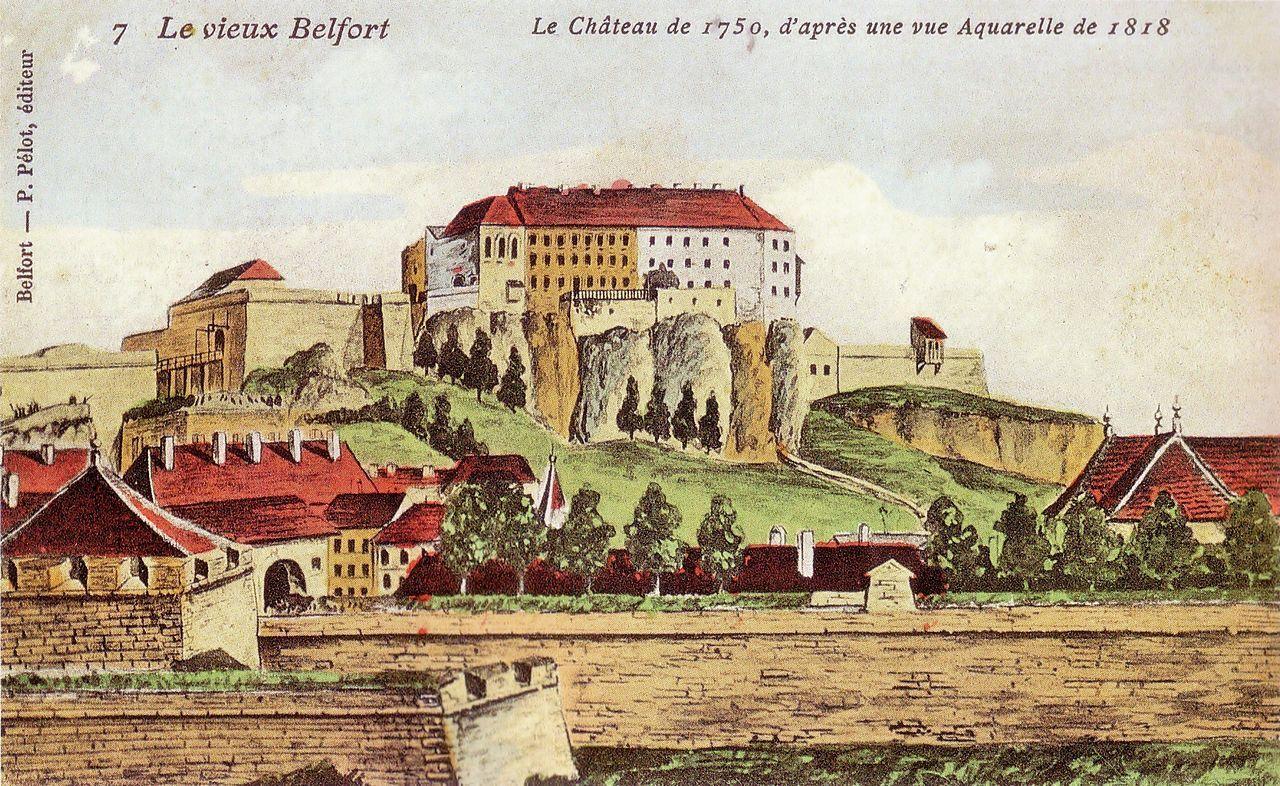 Le vieux Belfort en 1750, aquarelle datant de 1818.