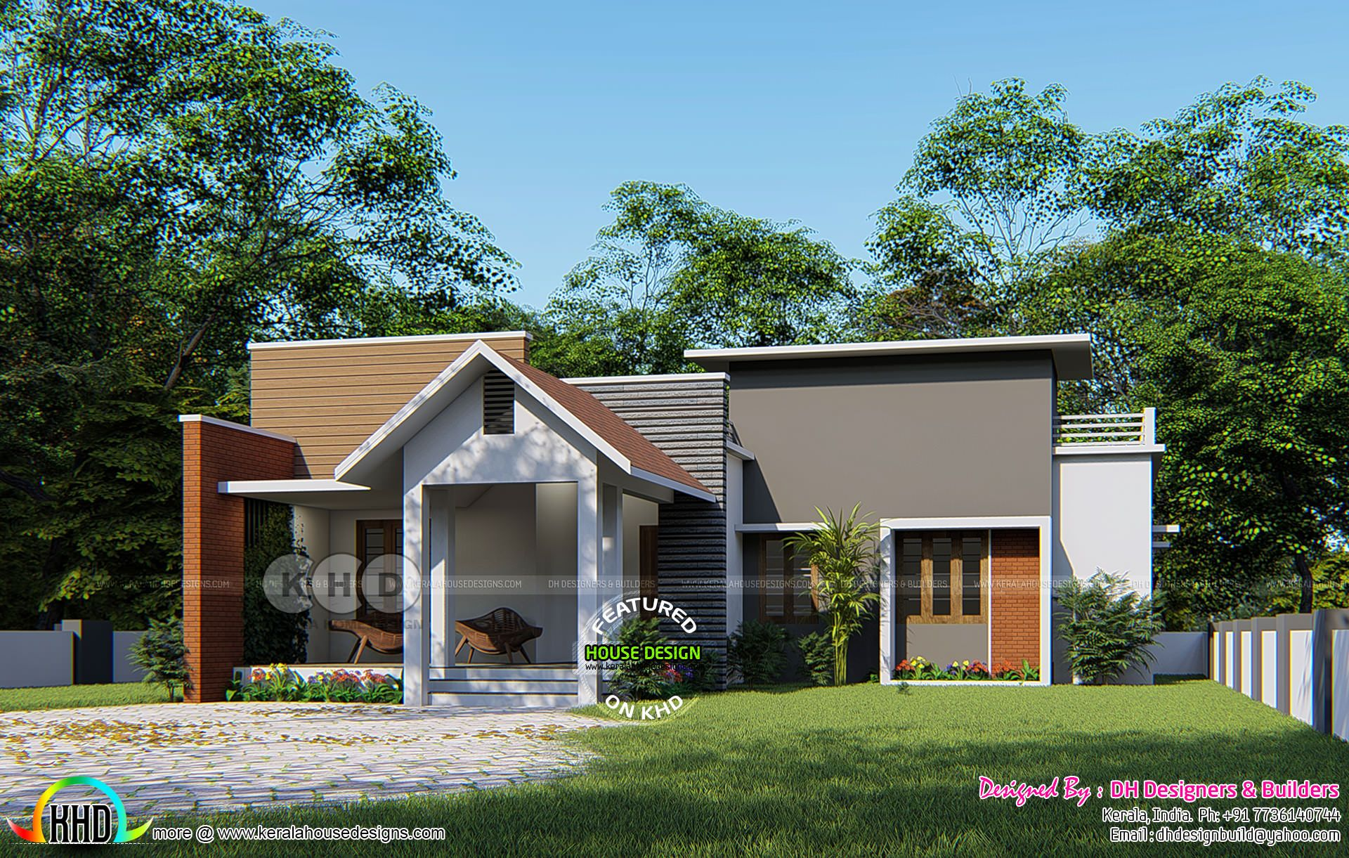 3 bedroom attached single floor modern house village