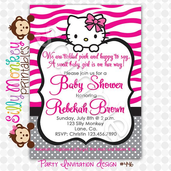 hello kitty baby shower invitation charite 39 s baby shower charite 39 s having a girl pinterest. Black Bedroom Furniture Sets. Home Design Ideas