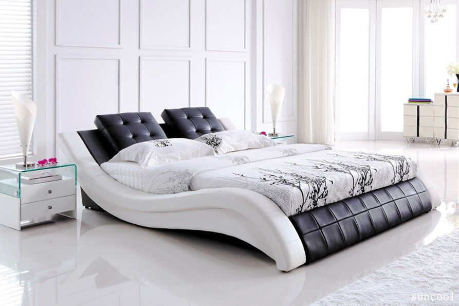 e cheap furniture sydney warehouse online super modern white mix black leather queen bed - Queen White Bed Frame