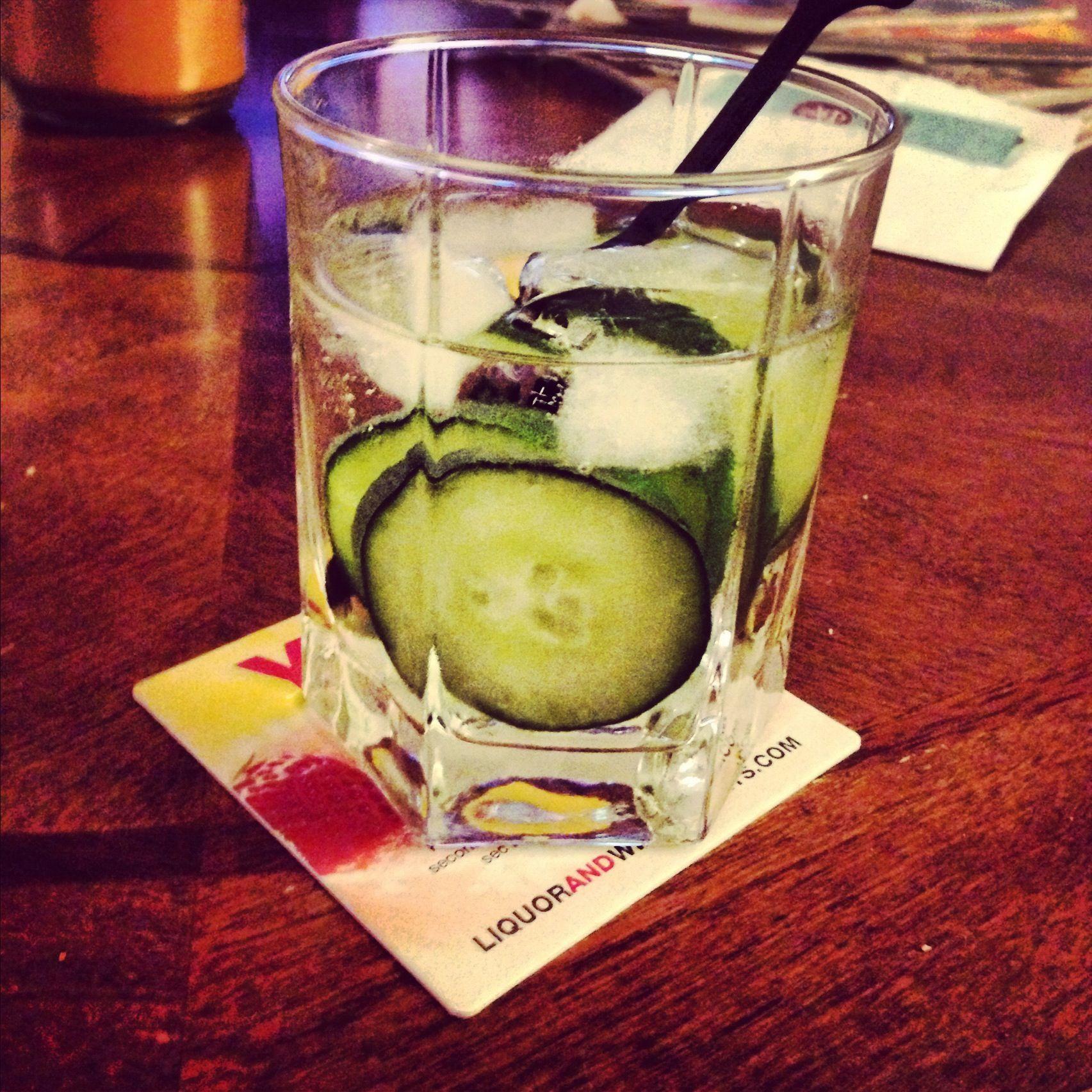 Cucumber cocktail!  Effen cucumber vodka, soda water, sliced cucumber, ice