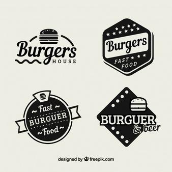 Download Pack Of Vintage Hamburger Restaurant Stickers For Free In 2020 Hamburger Restaurant Logo Food Food Lettering