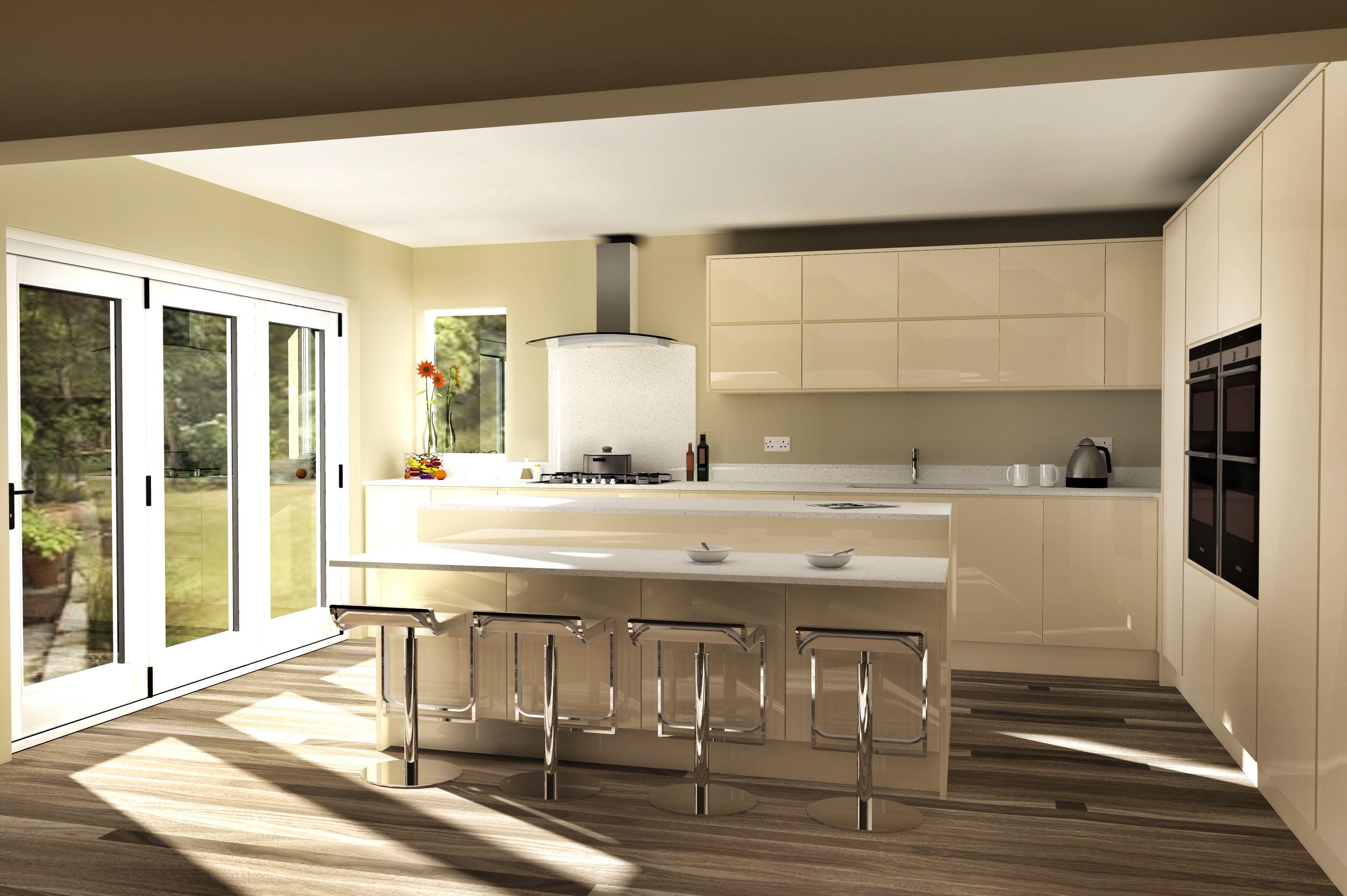 Modern Handleless Kitchen Remo Alabaster With Quartz CAD Model   SketchUp,  Artlantis, Snapseed By