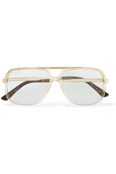 fb3d4ce2c635 Gucci | Squared aviator-style gold-tone and acetate sunglasses |  NET-A-PORTER.COM