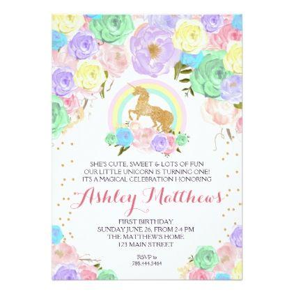 Rainbow unicorn birthday first floral invitation card rainbow unicorn birthday first floral invitation card birthday cards invitations party diy personalize customize celebration stopboris Images