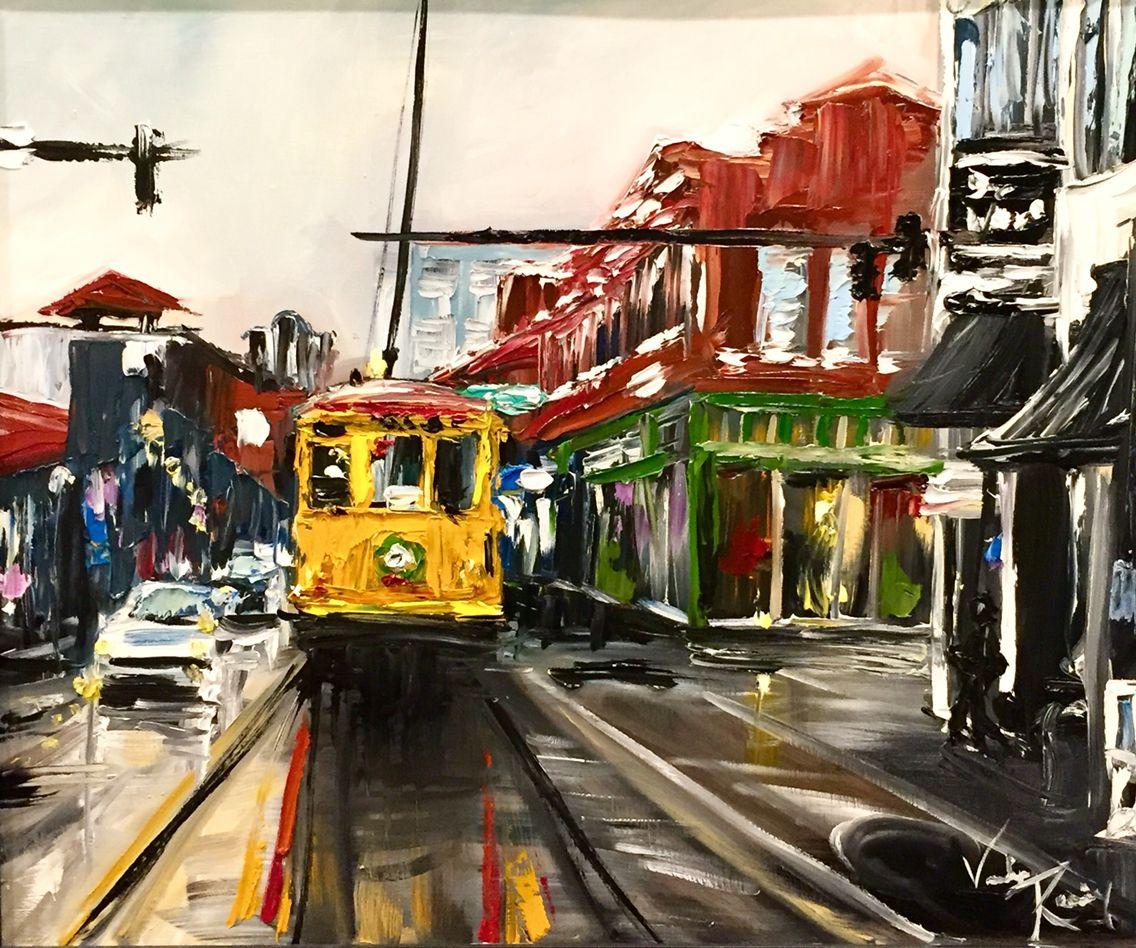 """River Market Trolley"" 20 x 24 oil impasto"