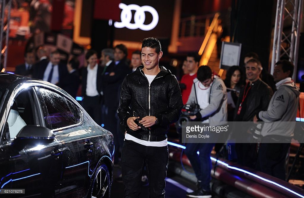 James Rodriguez Of Real Madrid Gets Into His New Audi Car For The