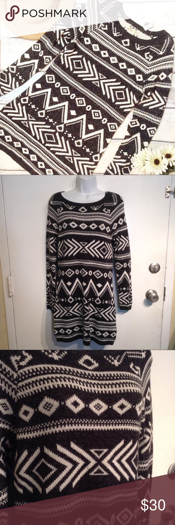NWT HOLLISTER Tribal Knit Neutral Sweater Dress New with tag ...